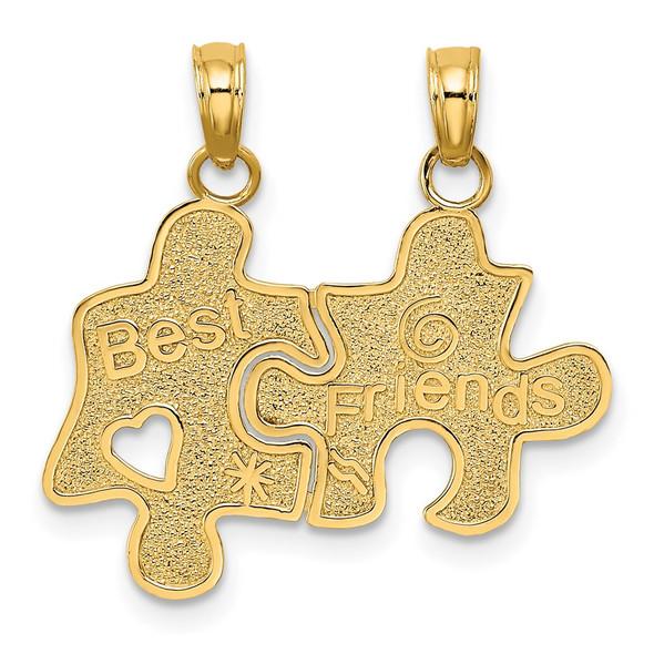 14k Yellow Gold BEST FRIENDS Break-apart Puzzle Pieces Pendant