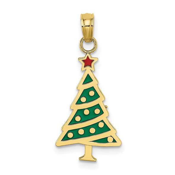 10k Yellow Gold Enamel Green Christmas Tree w/Red Star Pendant