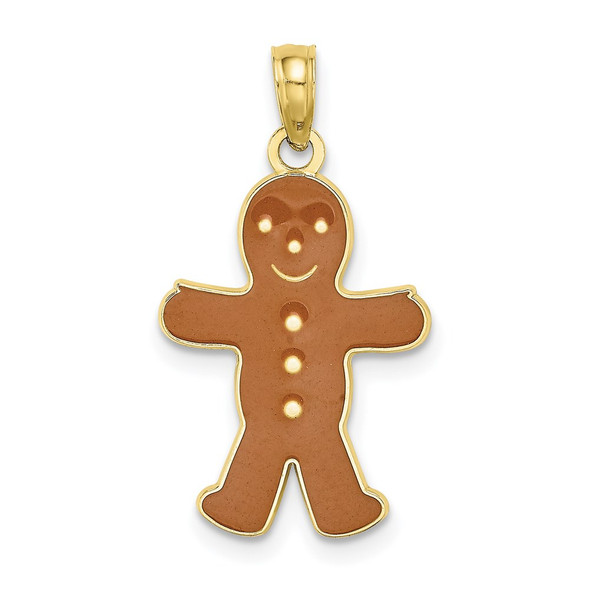10k Yellow Gold 3-D and Enamel Gingerbread Man Pendant