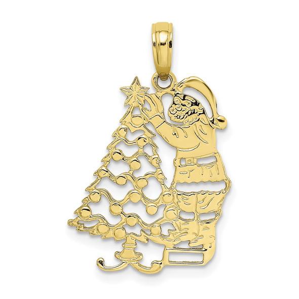 10k Yellow Gold Polished Christmas Tree and Santa Pendant