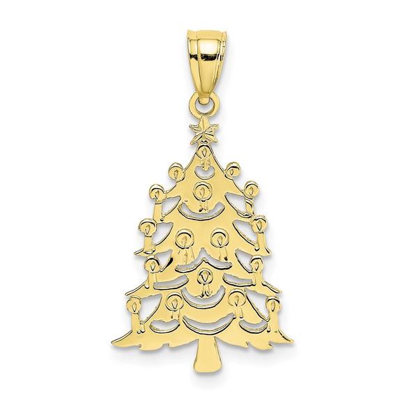 10k Yellow Gold Polished Christmas Tree Pendant 10D1120