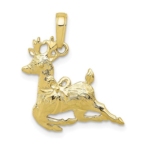 10k Yellow Gold Polished Reindeer Pendant