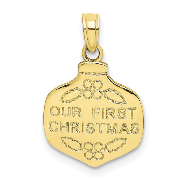 10k Yellow Gold Our First Christmas Ornament Pendant