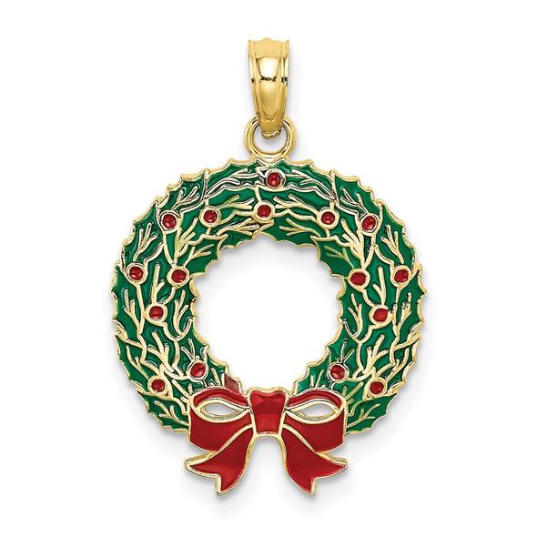10k Yellow Gold Enamel Christmas Wreath Pendant
