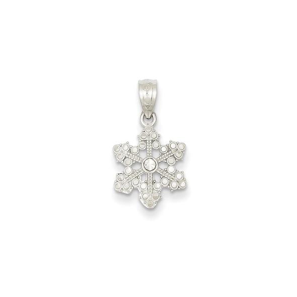 14k White Gold Snowflake Pendant YC495