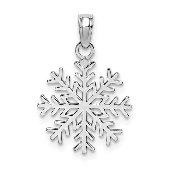 14k White Gold 3-D Snowflake Pendant