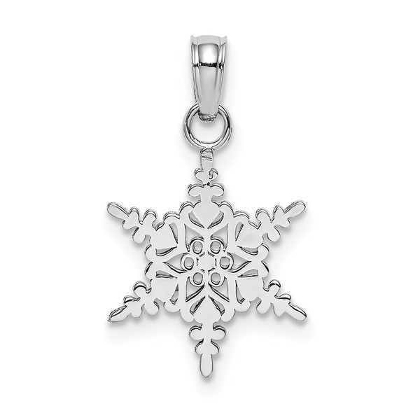 14K White Gold Small Snowflake Pendant