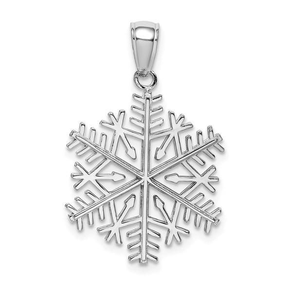 14k White Gold Polished Snowflake Pendant C2215W