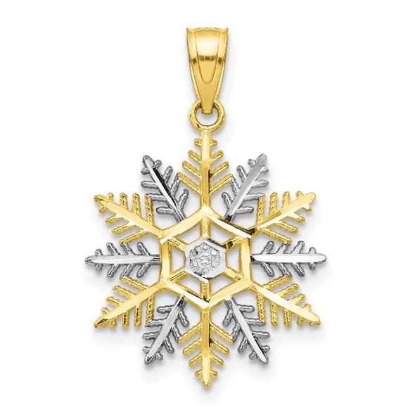 10k Yellow Gold With Rhodium-Plating Snowflake Pendant