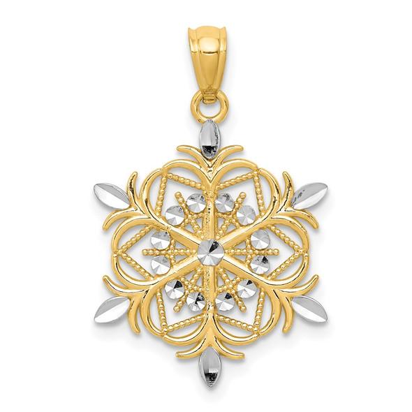 14k Yellow Gold And Rhodium Diamond-Cut Snowflake Pendant