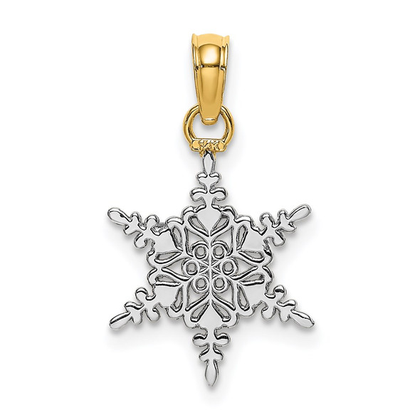 14k Yellow Gold And Rhodium Snowflake Pendant