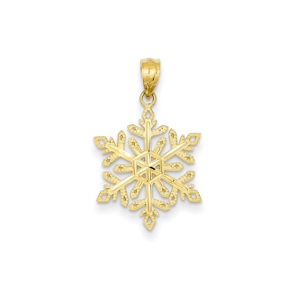 14k Yellow Gold Diamond-Cut Snowflake Pendant