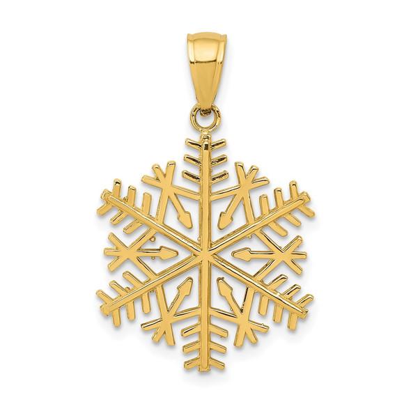 14k Yellow Gold Polished Snowflake Pendant C2215