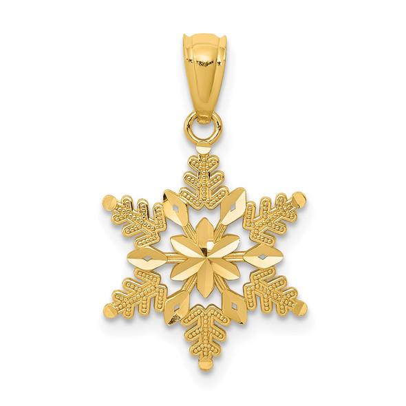 14k Yellow Gold Diamond-Cut Polished Snowflake Pendant