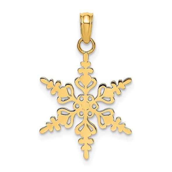 14k Yellow Gold Polished Snowflake Pendant K4743