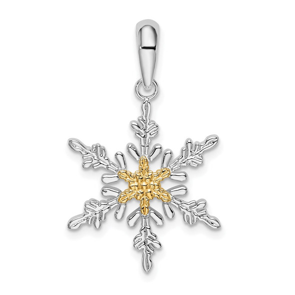 Sterling Silver Polished Lacey Snowflake w/14k Yellow Gold Center Pendant