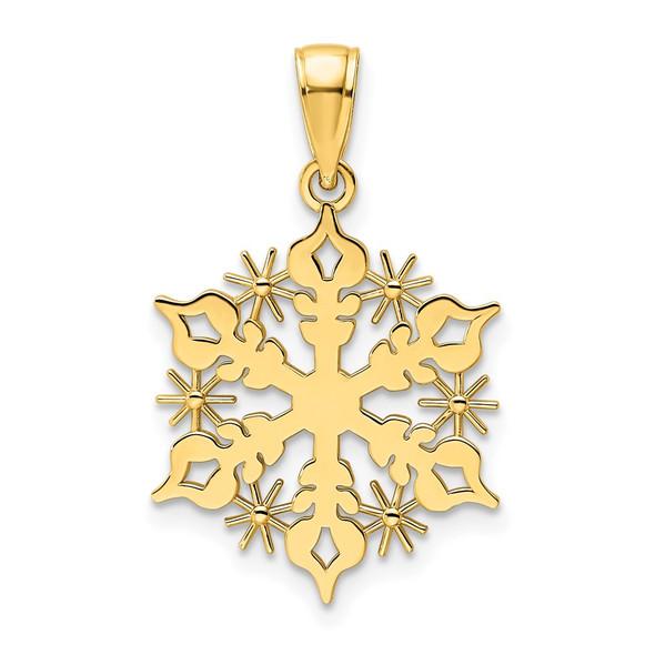 14k Yellow Gold Polished Snowflake Pendant K9861