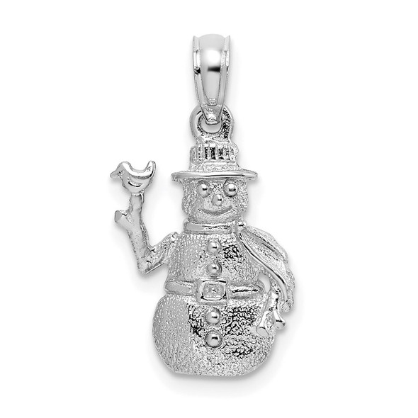 14k White Gold Satin and Polished 3-D Snowman Pendant