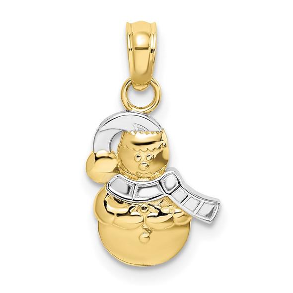 10k Yellow Gold With Rhodium-Plating Snowman Pendant