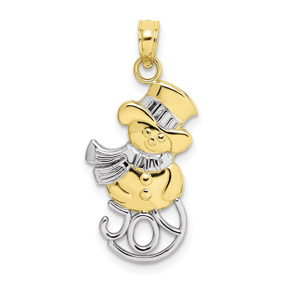 10k Yellow Gold with Rhodium-Plating Snowman and Joy Pendant