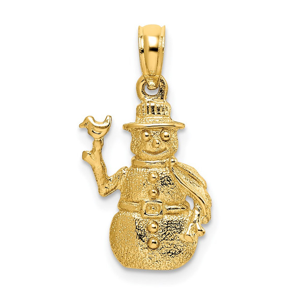 14k Yellow Gold Satin and Polished 3-D Snowman Pendant C2212