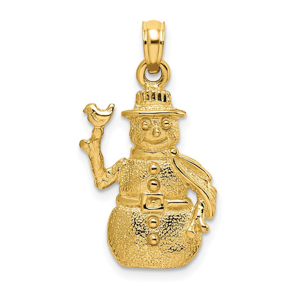 14k Yellow Gold Satin and Polished 3-D Snowman Pendant C2213