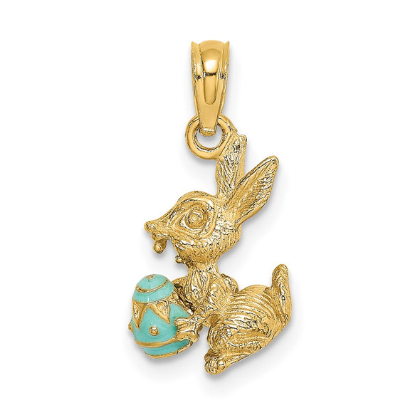 14k Yellow Gold 3-D Blue Enameled Easter Bunny w/Egg Pendant