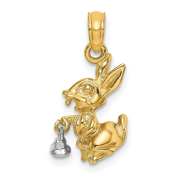14k Two-Tone Gold Moveable 3-D Bunny Rabbit Pendant