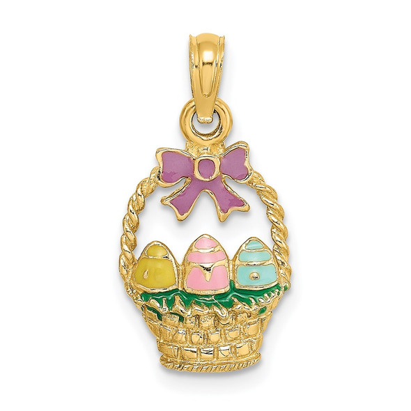 14k Yellow Gold Enameled Easter Basket w/ Bow and Eggs Pendant