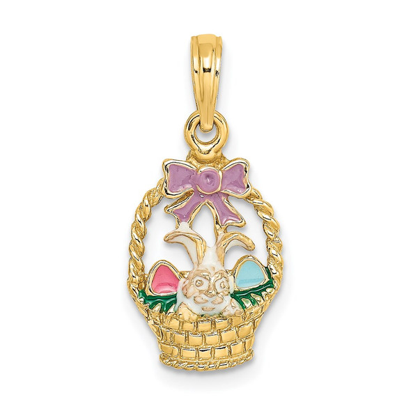 14k Yellow Gold Enameled Easter Basket w/ Bunny, Bow and Eggs Pendant