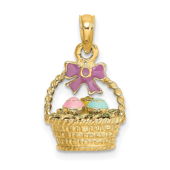 14k Yellow Gold 3-D Enameled Easter Basket w/ Bow and Eggs Pendant