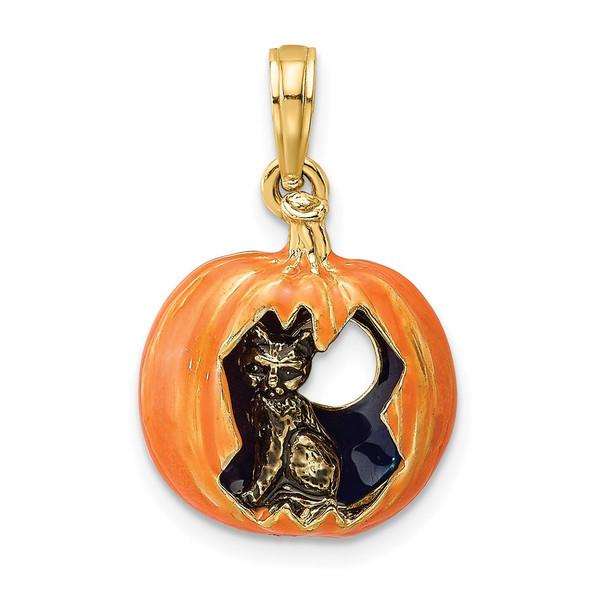 14k Yellow Gold 3-D Enameled Pumpkin w/ Black Cat and Moon Pendant