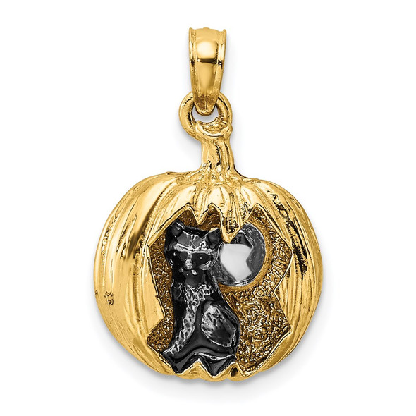 14k Gold and Rhodium 3-D Jack-O-Lantern w/Enameled Black Cat and Moon Pendant