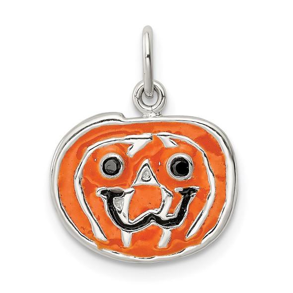 Sterling Silver Polished Enamel Pumpkin Pendant