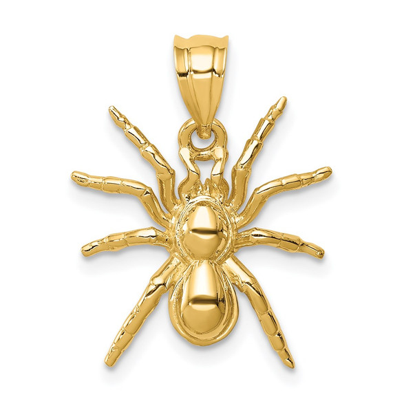 14k Yellow Gold Polished Spider Pendant