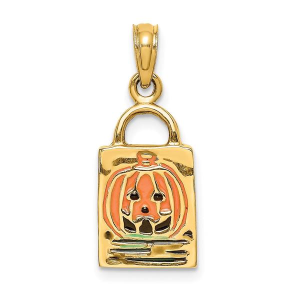 14k Yellow Gold 3-D Enameled Jack-o-Lantern Trick or Treat Bag Pendant