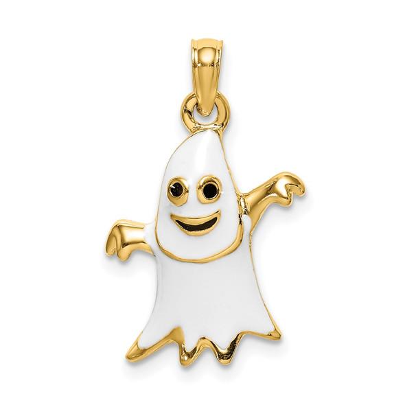 14k Yellow Gold 3-D Enameled Ghost Pendant