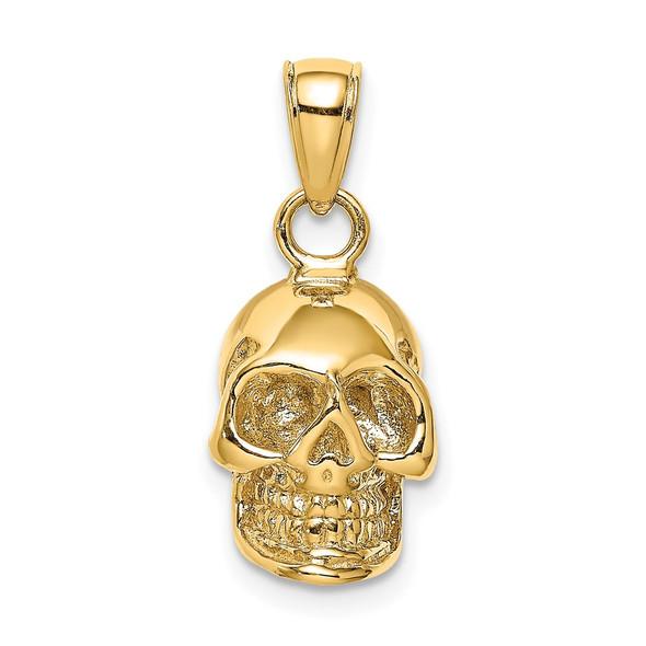 14k Yellow Gold 3-D Skull Pendant