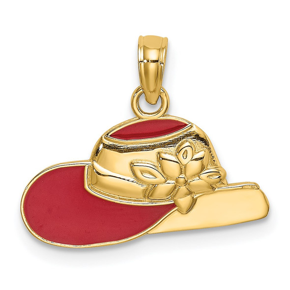 14k Yellow Gold Polished 2-D Red Enamel Hat Pendant