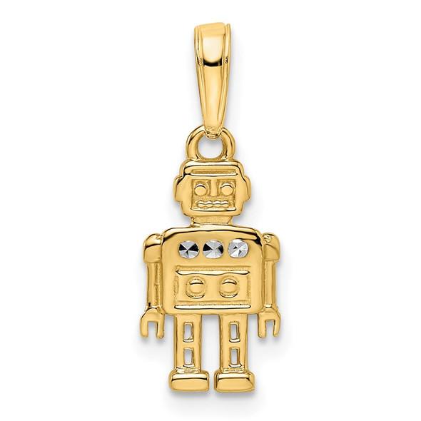 14k Yellow Gold and White Rhodium Diamond-cut Robot Pendant