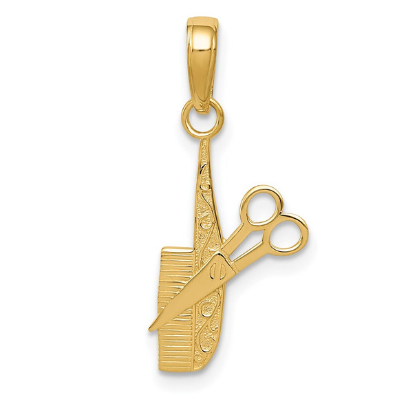 14k Yellow Gold Comb and Scissors Pendant K4940