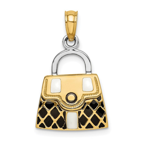 14k Gold and Rhodium 3-D w/ Black and White Enamel Moveable Handbag Pendant
