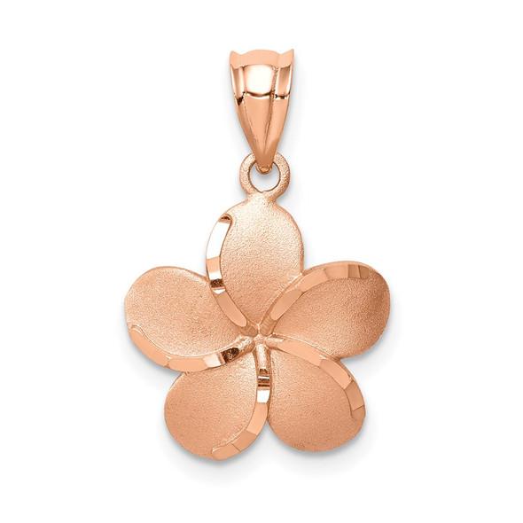 14k Rose Gold Brushed Diamond-Cut Plumeria Flower Pendant