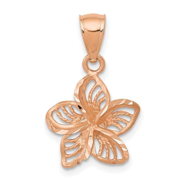 14k Rose Gold Beaded and Polished Plumeria Flower Pendant C4825R
