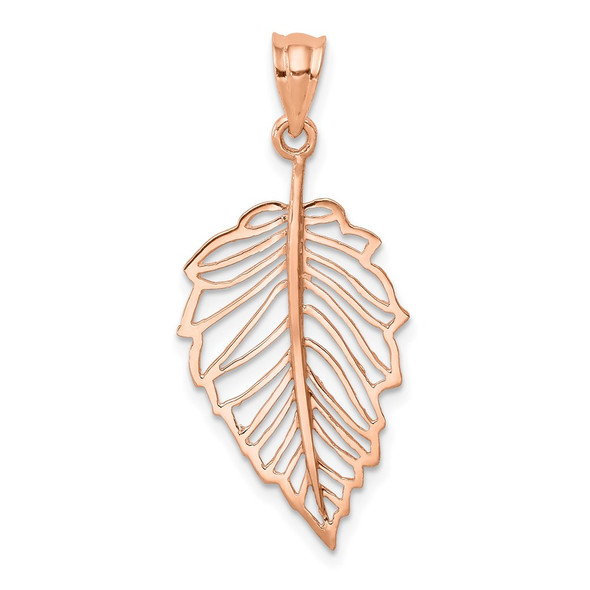 14k Rose Gold Polished Leaf Pendant