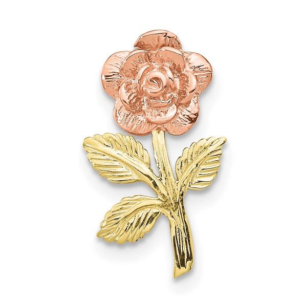 10k Rose and Yellow Gold Rose Flower Slide Pendant