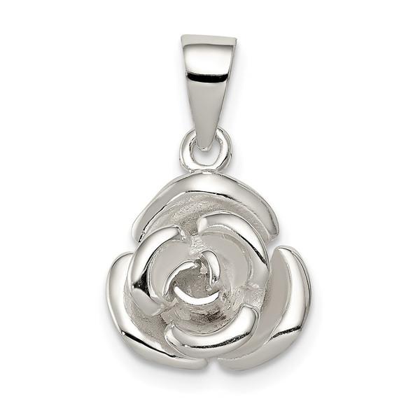 Sterling Silver Rose Flower Pendant QC7548