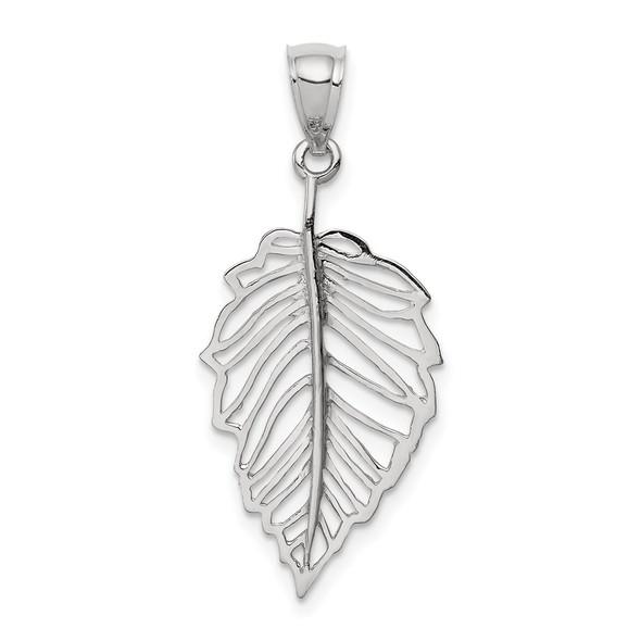 14K White Polished Leaf Pendant