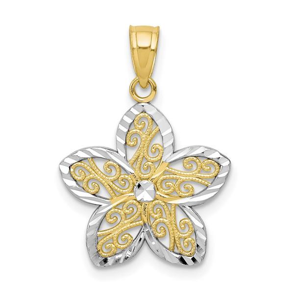 10k Yellow Gold With Rhodium-Plating Filigree Flower Pendant