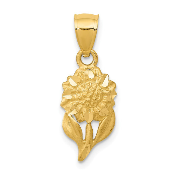 14k Yellow Gold Satin Diamond-Cut Sunflower Pendant